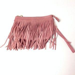 Women's Boho Wristlets Hippie Purse Fringed Pink